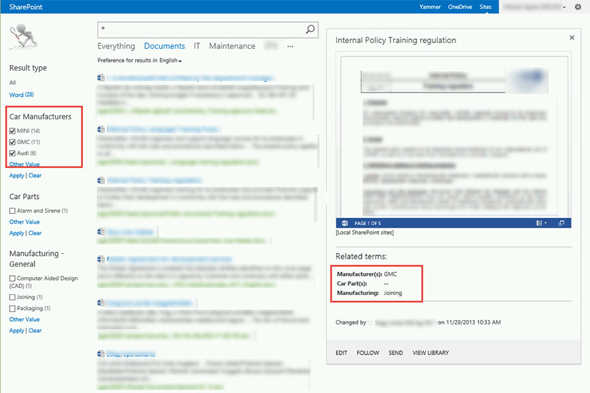 SharePoint search - entity extraction and meta data