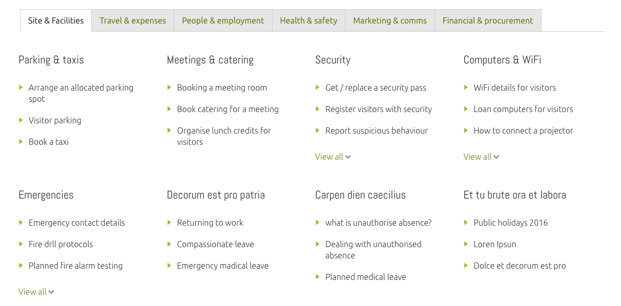 employee centricity and an intranet trend - screengrab of common tasks toolbox for emploiyees