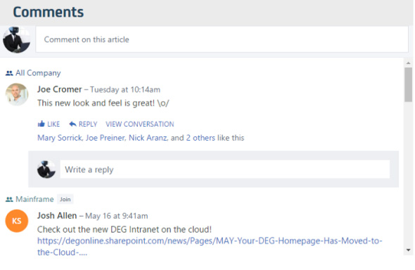 yammer integrated in sharepoint
