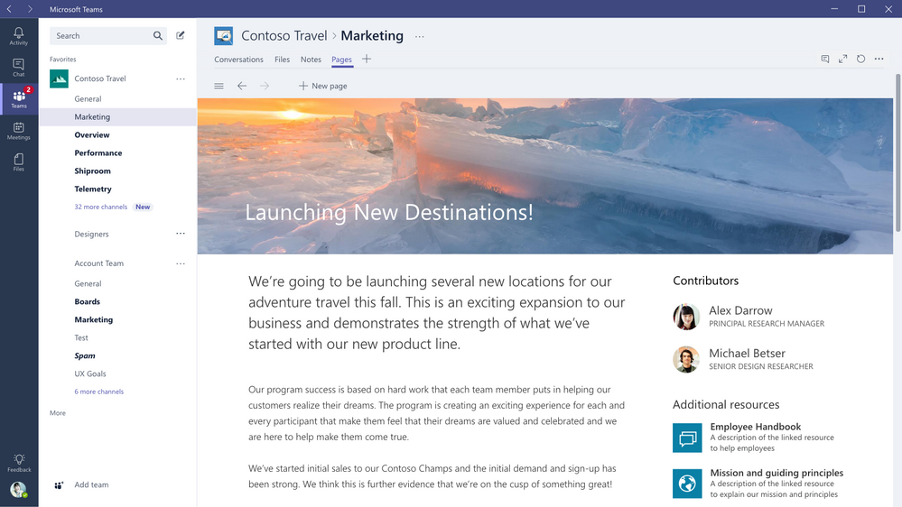 Microsoft Teams Modern Pages