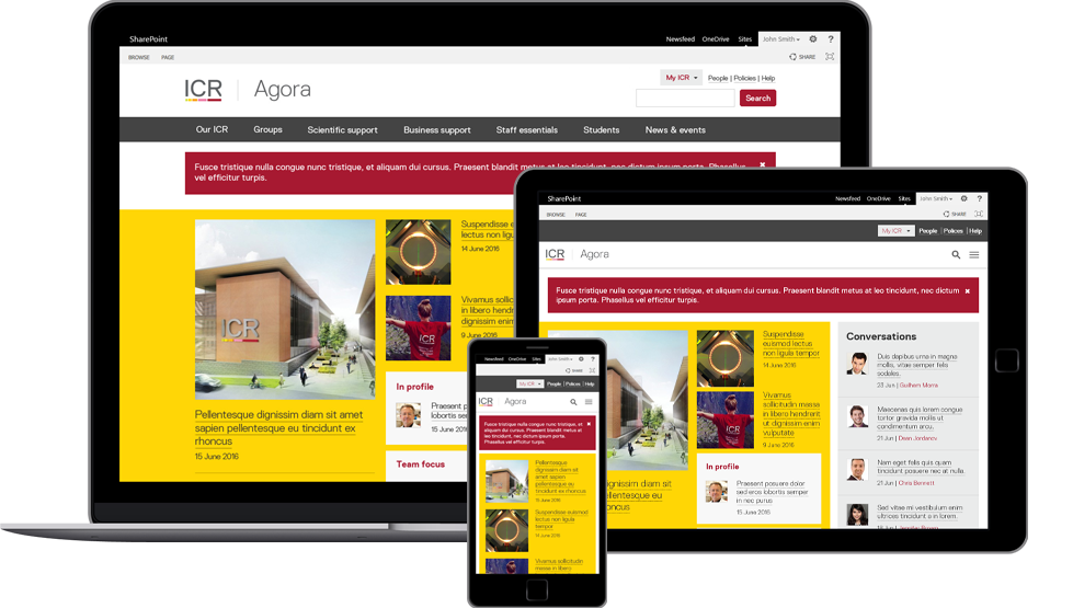 A responsive intranet developed on SharePoint 2013 on Premise with Skype for Business integration