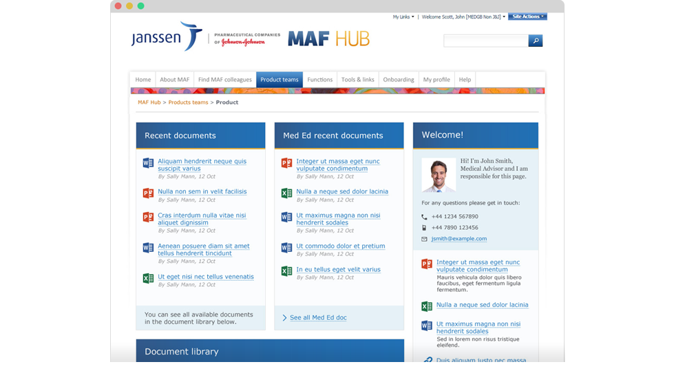 Medical Affairs Sharepoint intranet