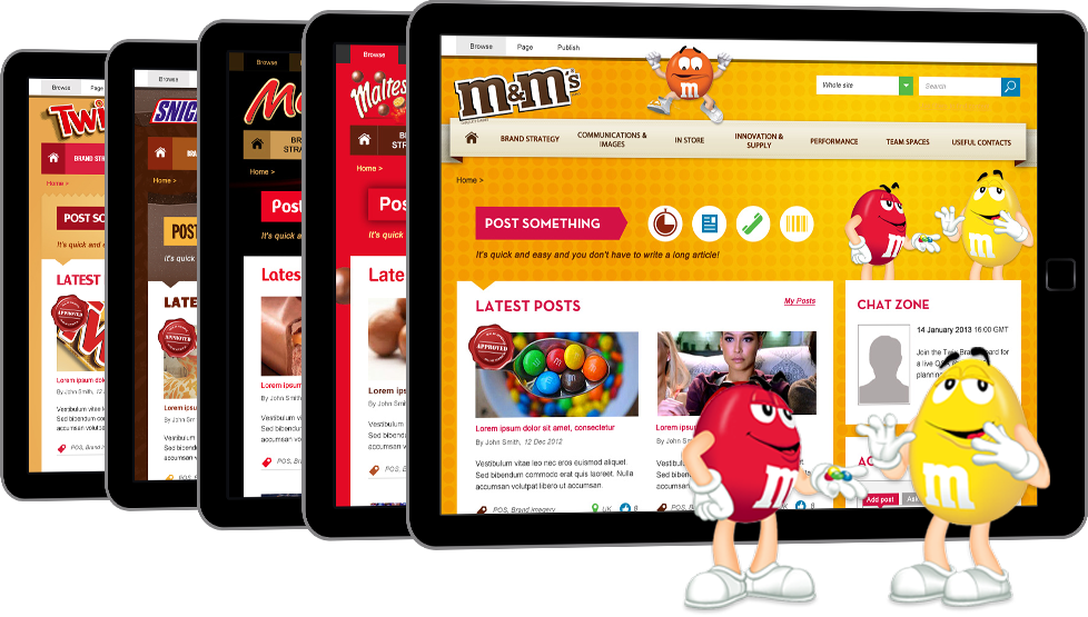 Multi-brand SharePoint intranet for food industry client