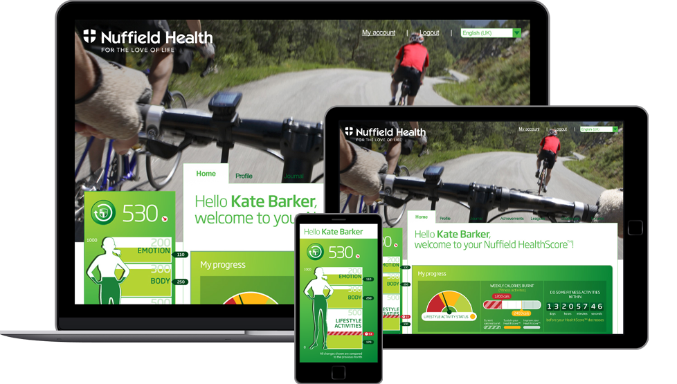 UX for Healthscore mobile app for Nuffield Health customers
