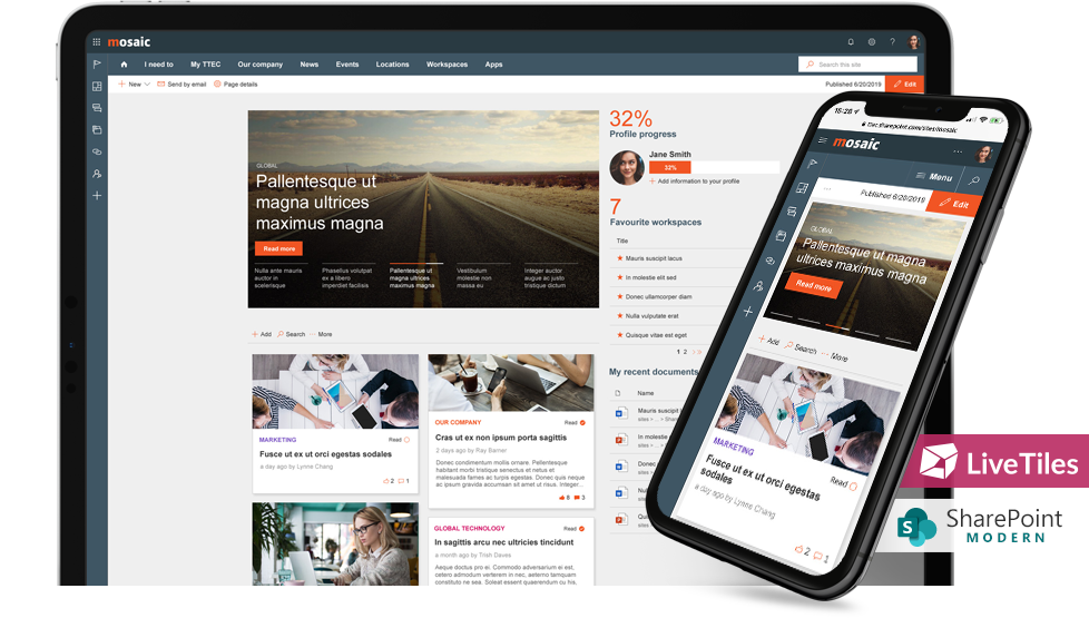 A mobile-friendly LiveTiles intranet for a remote workforce, navigating data privacy challenges
