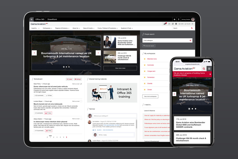 Gama aviation intranet -  a new central hub based on Wizdom and Office 365 (mobile and tablet)