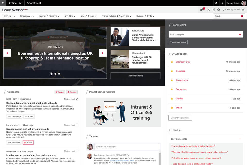 Gama aviation intranet - a new central hub based on Wizdom and Office 365
