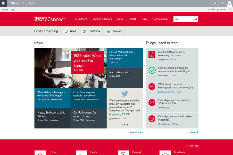 Office 365 intranet example  - solution that delivers quick productivity improvements and is popular with employees