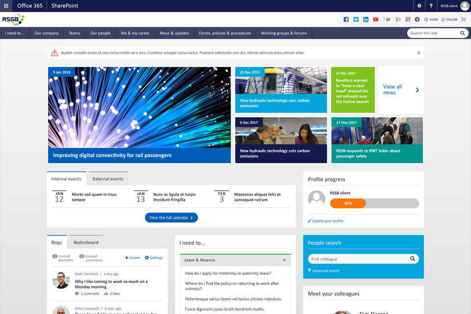 Wizdom Sharepoint intranet example - how RSSB seized the opportunities presented by a move to Office 365