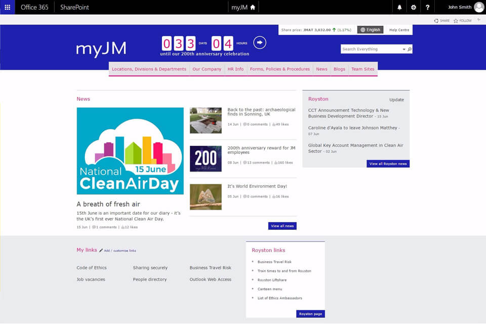 A responsive intranet developed in SharePoint Online with Yammer and Office 365