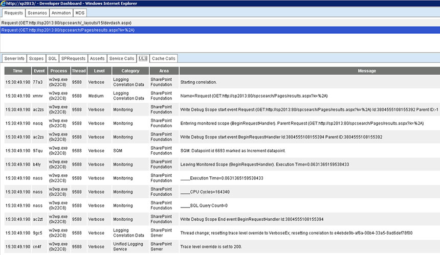 SharePoint search - developer dashboard troubleshooting