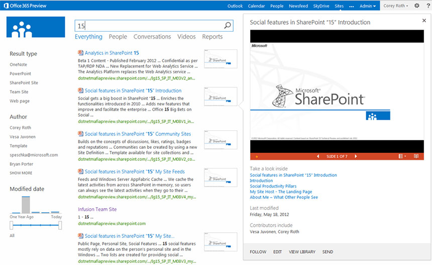 SharePoint search - display templates and UI enhancements