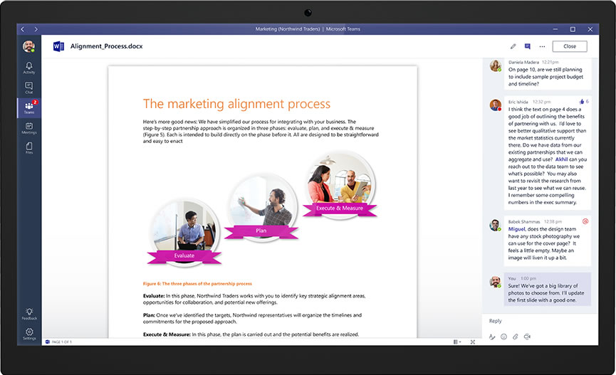 Microsoft Teams -  Word doc with chat thread on the right