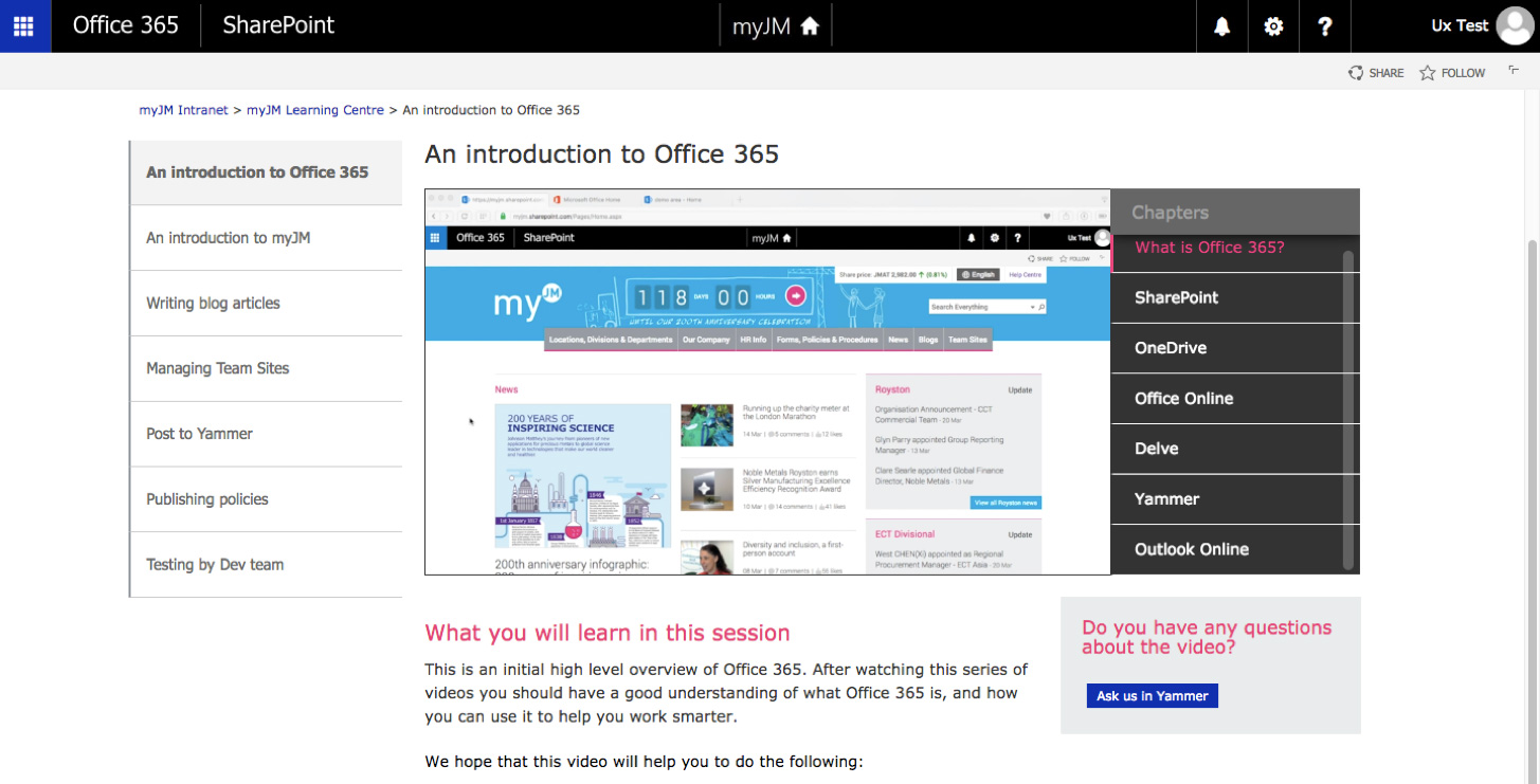 Office 365 video integrated with Sharepoint