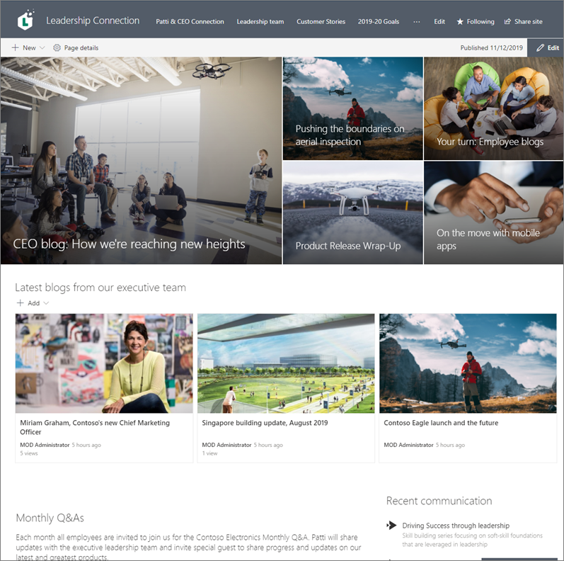 blogging in communication sites in microsoft 365