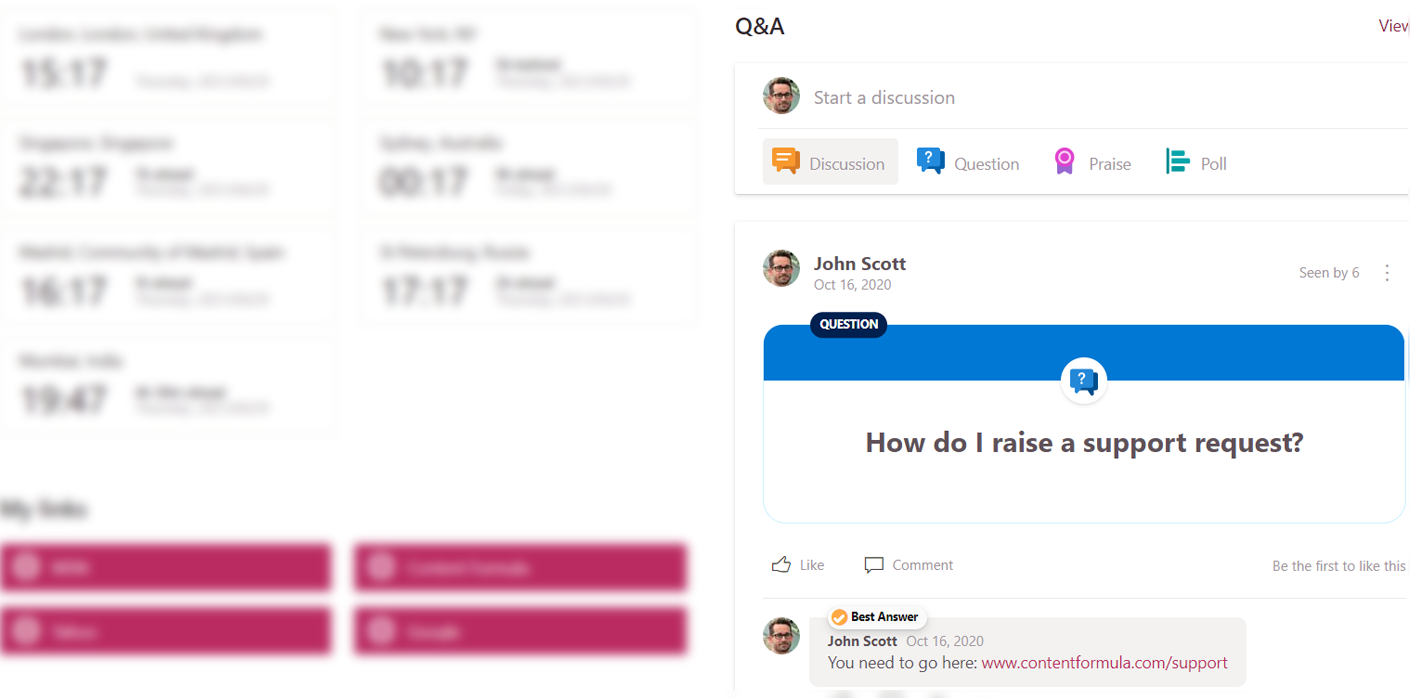 use yammer as a questions and answers feature on your intranet
