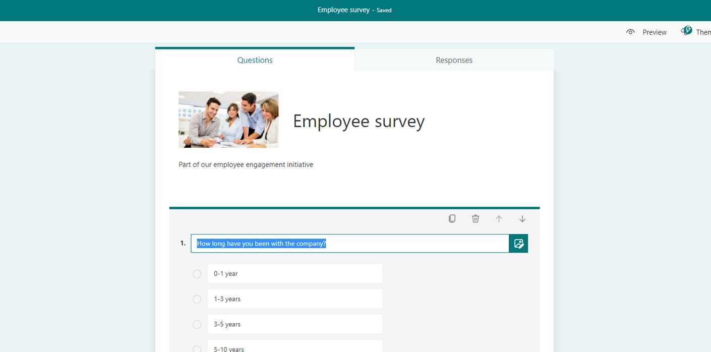 using microsoft forms for an employee survey