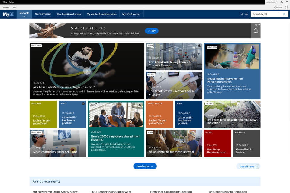 Boehringer Ingelheim office 365 intranet example
