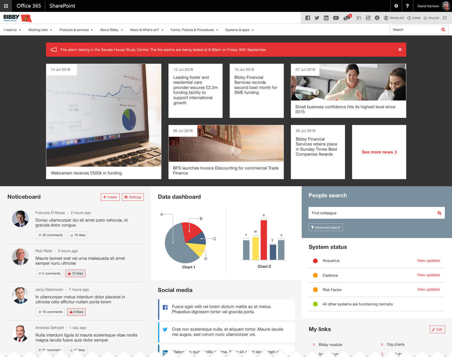 Operational intranet homepage example