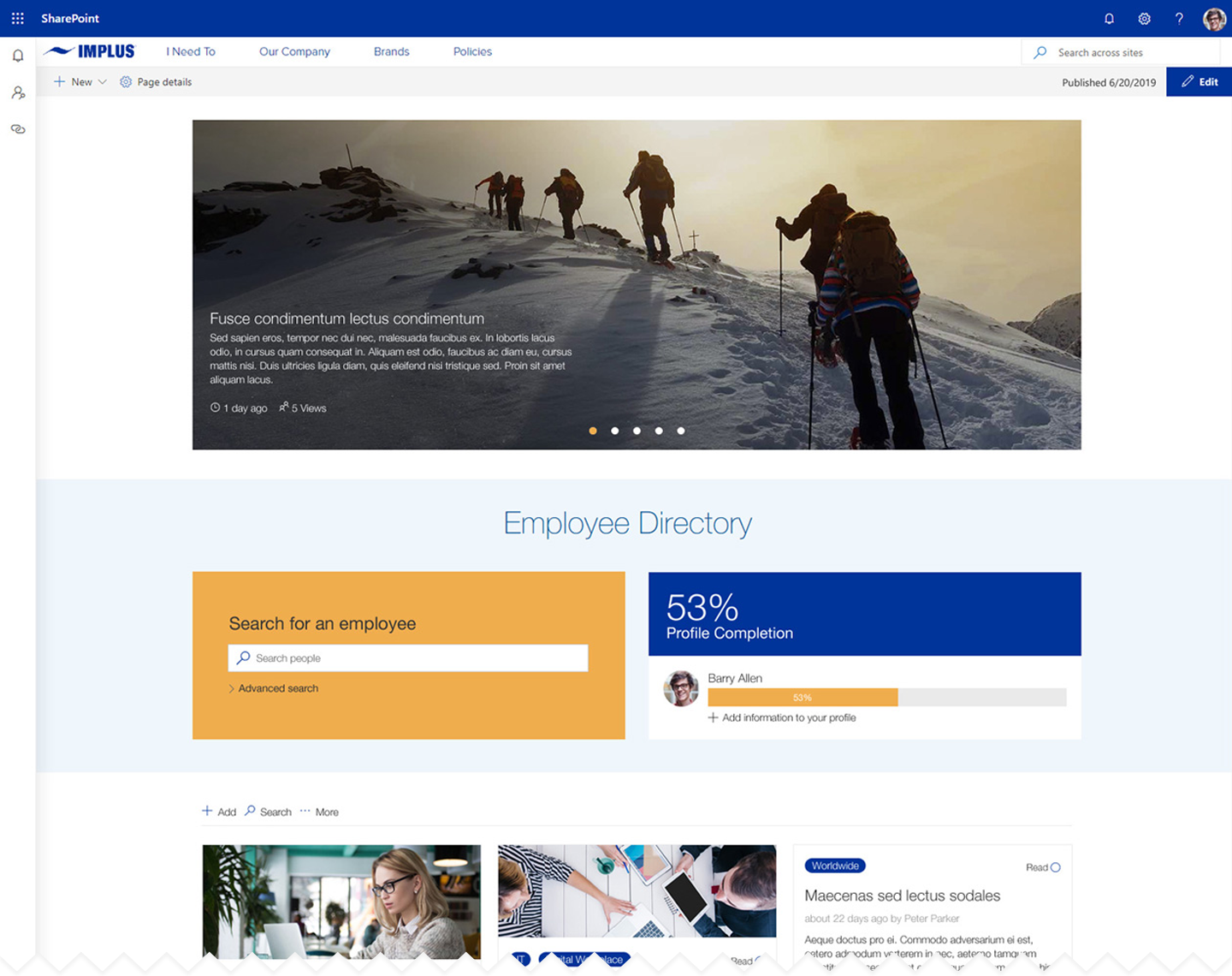 Uncluttered intranet homepage example