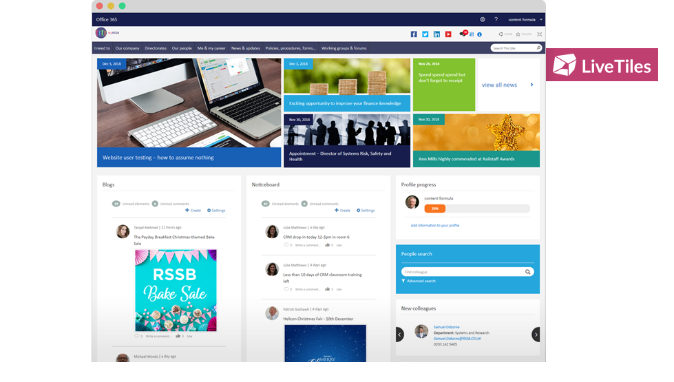 A LiveTiles intranet helping employees to stay informed, access critical information and to learn