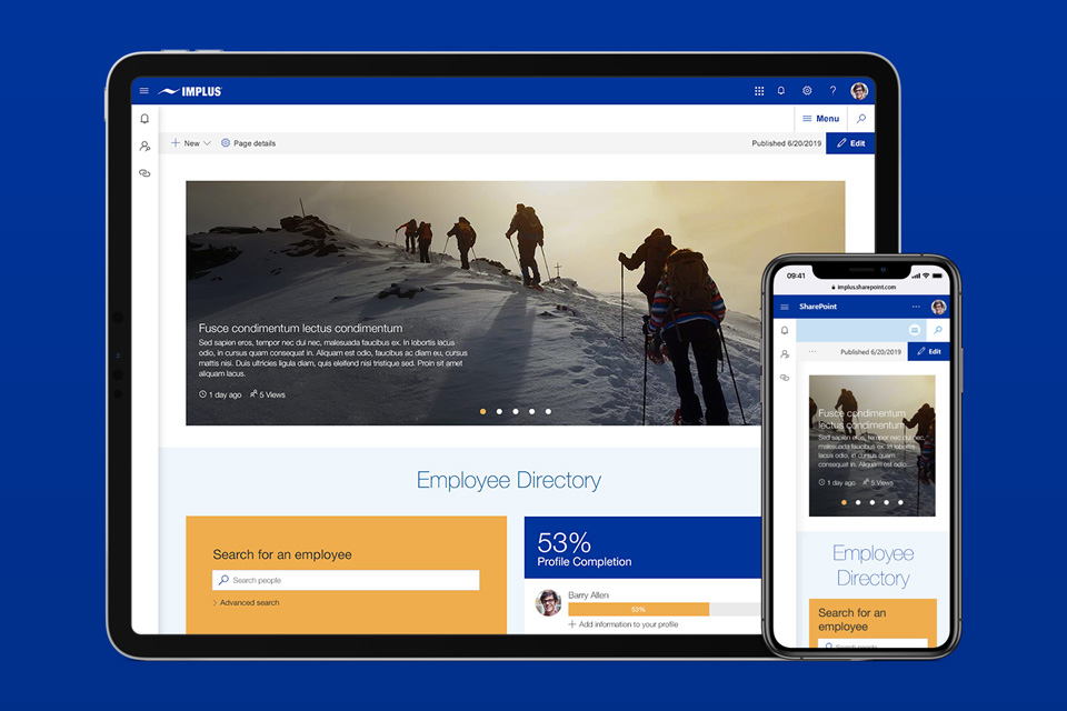 Sharepoint modern intranet example - A mobile-friendly Wizdom intranet for a sports retailer, kickstarting collaboration across a remote workforce/><i               class=