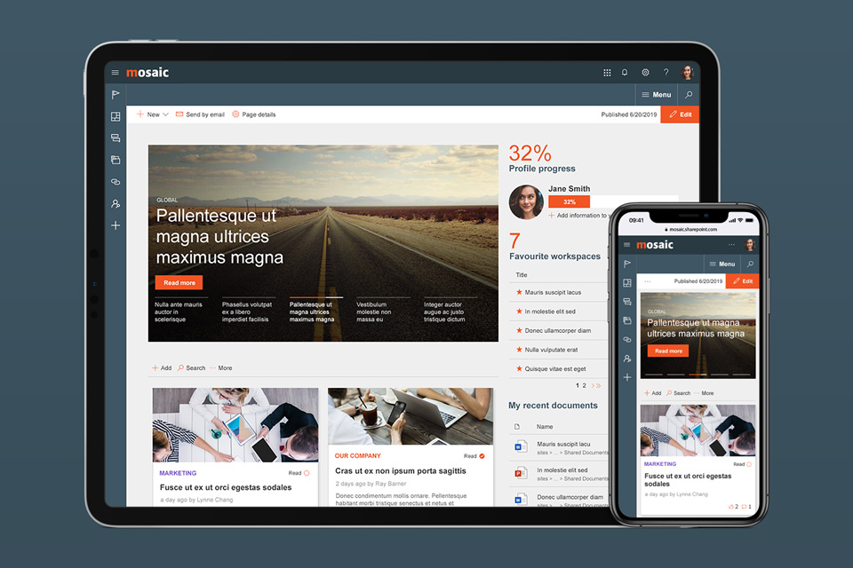 Sharepoint modern intranet example - A mobile-friendly Wizdom intranet for a remote workforce, navigating data privacy challenges - Mobile & Tablet