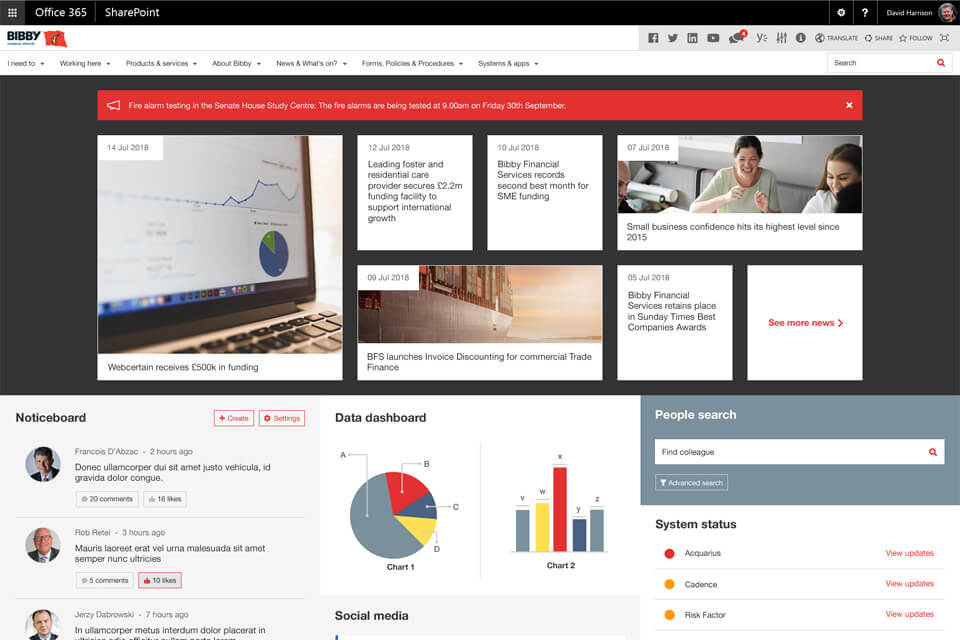 Wizdom Sharepoint intranet example - a truly global intranet serving the needs of all locations