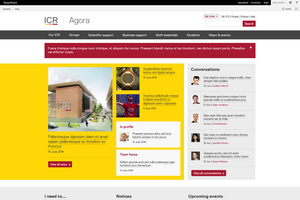 A responsive Sharepoint intranet example - The Institute for Cancer Research