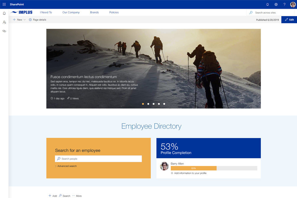Sharepoint modern intranet example - A mobile-friendly Wizdom intranet for a sports retailer, kickstarting collaboration across a remote workforce