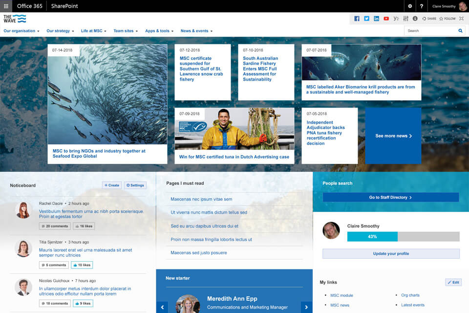 Wizdom Sharepoint intranet example - Marine Stewardship Council