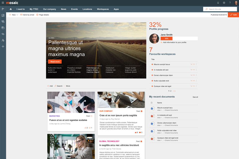 Sharepoint modern intranet example - A mobile-friendly Wizdom intranet for a remote workforce, navigating data privacy challenges